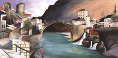 Csontváry Kosztka, Tivadar (Hungarian, - Roman Bridge at Mostar Rio Grande, Budapest, Sunny Afternoon, Post Impressionism, Art Database, Vintage Artwork, Nocturne, North Africa, A4 Poster