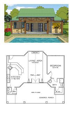 Coastal house plan 57863 total living area 932 sq ft 1 bedroom and 1 5 bathrooms coastalhome Pool House Plans, Tiny House Plans, 1 Bedroom House Plans, Guest House Plans, Small House Plans Under 1000 Sq Ft, Tiny Home Floor Plans, Guest Cottage Plans, Layouts Casa, House Layouts