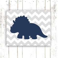 Chevron Nursery Art, Dinosaur Print in Grey and Navy, Chevron Striped Art Print, 8x10 Inch Wall Decor