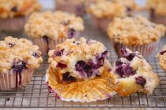 With plump blueberries and a crunchy streusel topping, my Best-Ever Blueberry Muffins recipe will be your new go-to muffin experience. Blueberry Loaf Cakes, Blueberry Recipes, Homemade Blueberry Muffins, Morning Glory Muffins, Muffin Recipes, Baking Recipes, Dessert Recipes, Best Ever Brownies, Bigger Bolder Baking