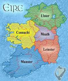 Map of Ireland depicting the early medieval kingdoms of Ulster, Connaught, Meath, Leinster and Munster.