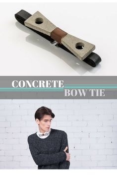 Modern concrete and leather bow tie for men. Would make an awesome gift for architects. #bowtie #concrete #gift #leather #mensfashion #modern #commissionlink #oybpinners