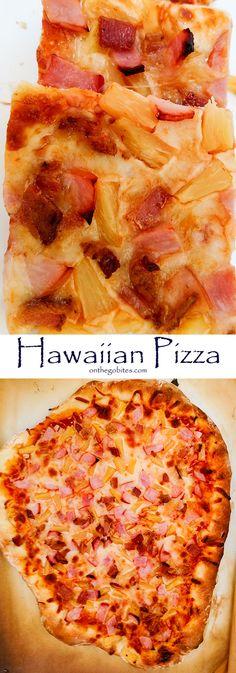 Hawaiian Pizza Recipe With Ham & Pineapple - On The Go Bites / Grab and Go Snack. Hawaiian Pizza Recipe With Ham & Pineapple – On The Go Bites / Grab and Go Snacks And Meals – Ham Recipes, Pizza Recipes, Dinner Recipes Easy Quick, Easy Meals, Ham Pizza, Ham And Pineapple Pizza, Hawaiian Pizza, Hawaiian Snacks, Pizza
