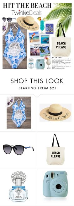 """swimsuit"" by anabelisstyle ❤ liked on Polyvore featuring J.Crew, Christian Dior, Fallon & Royce, Vince Camuto, Bora Bora, Ultimate, Anja, Fujifilm, TIKI and Lonely Planet"