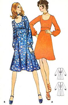 1970s Dress Pattern Butterick 6167 Fit and Flare A by paneenjerez, $16.00