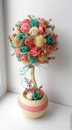 """Купить Топиарий """"Воздушный десерт"""" - мятный, розовый, топиарий, Дерево счастья, хендмейд, флористика"""