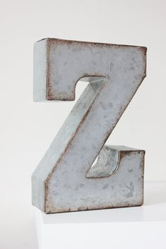 LARGE METAL LETTER Zinc Steel Initial Home Room Decor Diy Signs Letter Vintage Style Gray Silver Rusted Monogram Alphabet Rustic Wedding