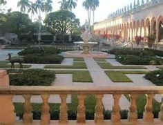 The inner  courtyard at the Ringling Brothers and Barnum & Bailey Mansion Sarasota Florida