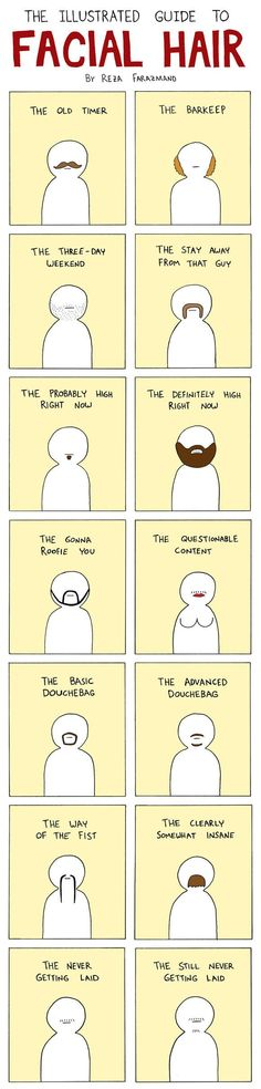 Illustrated guide to facial hair.