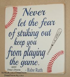 Baseball Sign Baseball Decor Baseball Quote Wooden Baseball Sign Babe Ruth Quote Baseball Wall Decor Never Let Fear Keep You - Cohen Baby Name - Ideas of Cohen Baby Name - Baseball Decor Baseball Sign Baseball Quote Wooden by DeenasDesign Baseball Wall Decor, Baseball Signs, Baseball Crafts, Boys Baseball Bedroom, Baseball Mom, Baseball Nursery, Baseball Games, Baseball Canvas, Baseball Painting