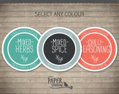 CUSTOM Colour Selection - Printable Herb & Spice Jar Labels - Sketchy Modern - Editable PDF - Personalized