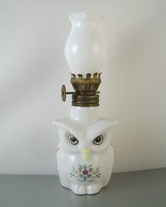 Vintage Owl Oil Lamp