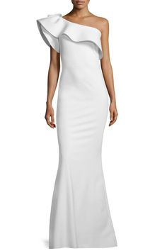 14 Chic Wedding Dresses for Petite Women - La Petite Robe Elisse One-Shoulder Ruffle Mermaid Gown from InStyle.com