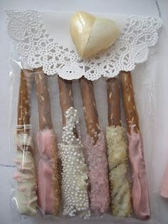 Cheap simple Choclate Covered Pretzels- table treat use your wedding colors