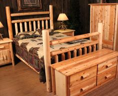 Log Bed....ALMOST identical to my bed, mine is King and only has one rail going across instead of two..and the rails going up and down are longer. LOVE my bedroom furniture. Have the dresser, 2 bedside tables, desk, and bookcase to match. LOVE IT!
