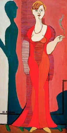 Ernst Ludwig Kirchner - Femme blonde avec robe rouge. Portrait d'Elisabeth Hembus