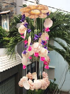 Items similar to Full color Seashell windchimes Seashell Wind Chimes, Diy Wind Chimes, Seashell Art, Seashell Crafts, Beach Crafts, Cute Crafts, Craft Stick Crafts, Diy Crafts, Diy Candles