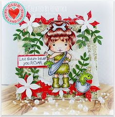 From our Design Team! Card by Henryka Kowacz featuring Club La-La Land Crafts March 2016 exclusive Marci with Dinosaur, Dino-mite stamp set and these Dies - Jungle Vines, Jungle Flowers and Jungle Flowers Border:-) Club La-La Land Crafts subscription details are here - http://lalalandcrafts.com/Club_La-La_Land_Crafts.html  Coloring details and more Design Team inspiration here -  http://lalalandcrafts.blogspot.ie/2016/04/club-la-la-land-crafts-march-2016-kit_12.html