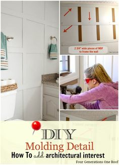DIY Wall Molding - How to add architectural interest to a bare wall @Four Generations One Roof