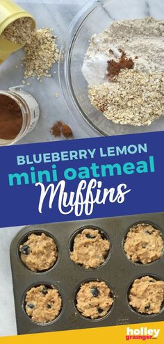 Bite-sized Blueberry Lemon Mini Oatmeal Muffins are ideal for back-to-school breakfasts, healthy snacks, and lunchboxes. Healthy Meals For Kids, Kids Meals, Healthy Snacks, Nutritious Breakfast, Healthy Breakfast Recipes, Healthy Breakfasts, Oatmeal Muffins, Mini Muffins, Breakfast Dessert