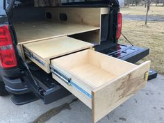 Pull out drawer Auto Camping, Truck Cap Camping, Pickup Camping, Van Camping, Truck Camper Shells, Truck Bed Camper, Diy Camper, Truck Bed Drawers, Truck Bed Storage