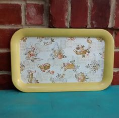 Spice herb tray tin rectangular tray yellow vintage herb tray saffron anise spice herb kitchen decor metal tray by HappyVintageStudio on Etsy
