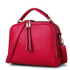94f4ff634390 Shoulder Bags Spring Weave Tassel PU Leather Ladies Casual Handbags