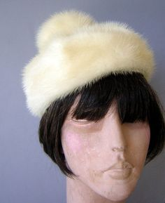 77cec1298 Vintage Valerie Modes Winter White Wool Hat with Netting, Ivory ...
