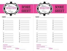 Score Sheets For All Kinds Of Games Including Bunko Gin Rummy