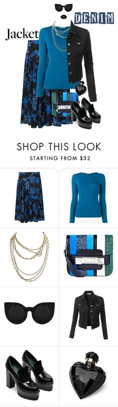 """""""Denim Jacket Contest"""" by petalp ❤ liked on Polyvore featuring STELLA McCARTNEY, Emilia Wickstead, Chanel, Proenza Schouler, LE3NO, Lipsy, Lime Crime and ootd"""