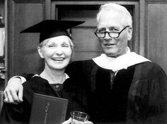 Paul Newman and Joanne Woodward 50 years together. In photo at Woodward's 1990 graduation from Sarah Lawrence College at age 60.