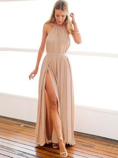 A-line Halter Chiffon Ankle-length with Split Front Prom Dresses $119.99