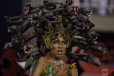 Brazil Carnival  A performer from the Salgueiro samba school parades during Carnival celebrations at the Sambadrome in Rio de Janeiro, Brazil, Monday, Feb. 27, 2017. (AP Photo/Leo Correa)