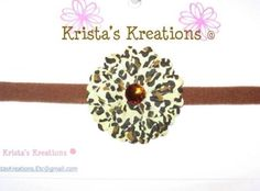 #S08: Mini Cheetah Daisy; Brown Rhinestone;  Brown Headband https://www.facebook.com/KristasKreationsEtc