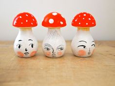 Wooden toadstool hand painted decoration - with amy stovall