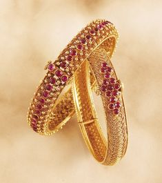 Latest Indian Gold and Diamond Jewellery Designs: Antique Ruby Bangles Ruby Bangles, Gold Bangles, Indian Bangles, Gold Earrings, Indian Wedding Jewelry, Bridal Jewelry, Gold Jewelry, Baby Jewelry, Diamond Jewellery