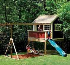 outdoor playhouses | Kids Outdoor Wooden Playhouse Swing Set Detailed Plan | eBay