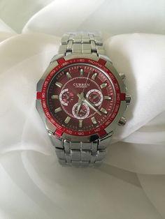Curren Men's Red Fashion Sporty Stainless Steel Analog Wrist Watch   eBay