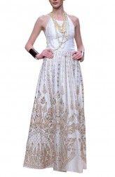 White Raw Silk Gota Patti Gown