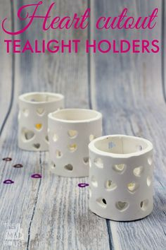 These stunning tea light holders or luminaries are made from microwave clay and are the perfect valentines craft. Light up the dark february days by making air drying clay candle votives. Diy Clay, Clay Crafts, Clay Projects, Clay Candle Holders, Valentines Art, Light Crafts, Diy Candles, Beeswax Candles, Candle Wax