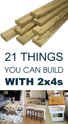 Wondering how to make stuff with 2x4's? Here are 21 DIY 2x4 projects like 2x4 furniture that includes a coffee table, bench, stools, rolling cart etc.