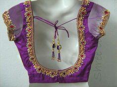 Beautiful neck design with net sleeve