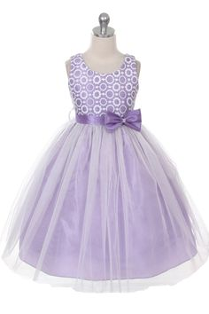 Lilac Flower Pattern Top Tulle skirt Flower Girl Dress