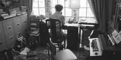 Phyllis Schlafly at work in her Alton home office circa 1980.