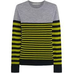 Jason Wu gray-marl, sage-green and black sweater. Striped fine-knit wool. Ribbed trims. Slips on. 100% wool. Dry clean. Fits true to size, take your normal siz…