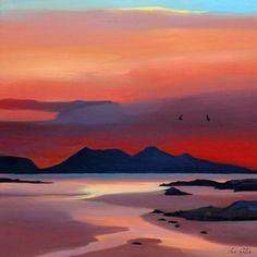 Scottish Artist Pam CARTER - Hot Sundown & Flight