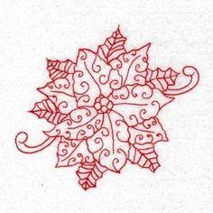 <?echo Redwork Poinsettias ?> Machine Embroidery Design