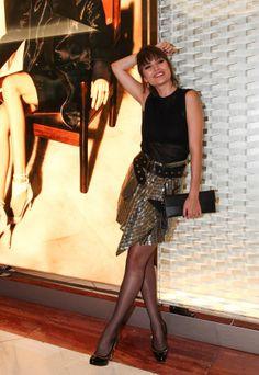 Maria Casadevall em coquetel para celebrar a reinauguração da loja Salvatore Ferragamo no Shopping Iguatemi e Cidade Jardim