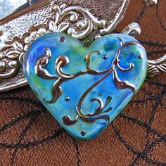 Kerribeads Lampwork Silver Blue Victorian Heart by kerribeads