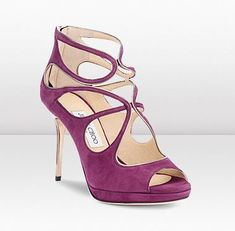 Jimmy Choo Plum Latina Suede and Metallic Leather Sandals